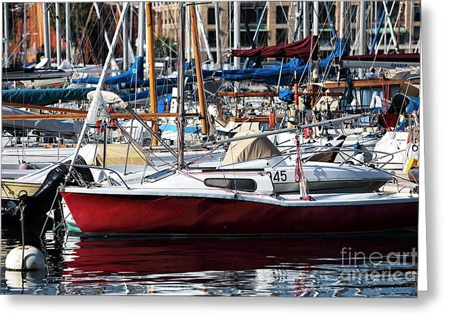 Sailboat Photos Greeting Cards - Red in the Port Greeting Card by John Rizzuto