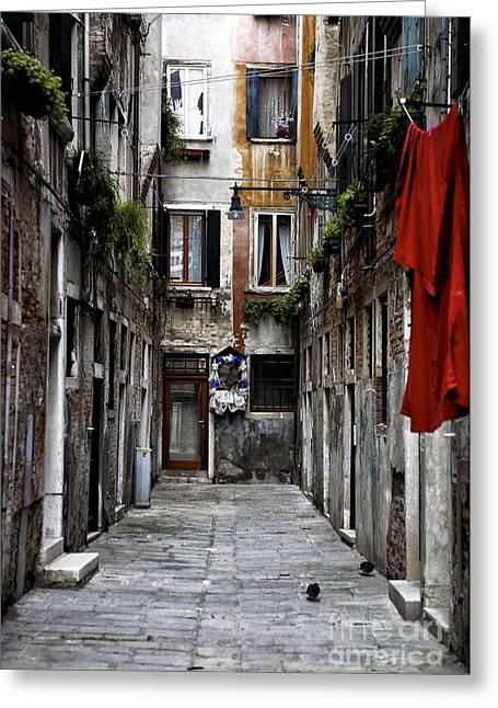 Old Home Place Greeting Cards - Red in Venice Greeting Card by John Rizzuto
