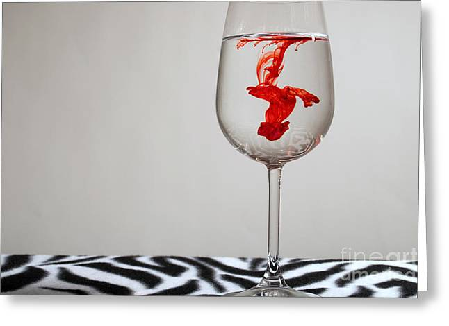 Red Wine Prints Greeting Cards - Red in Water Greeting Card by Alana Jensen