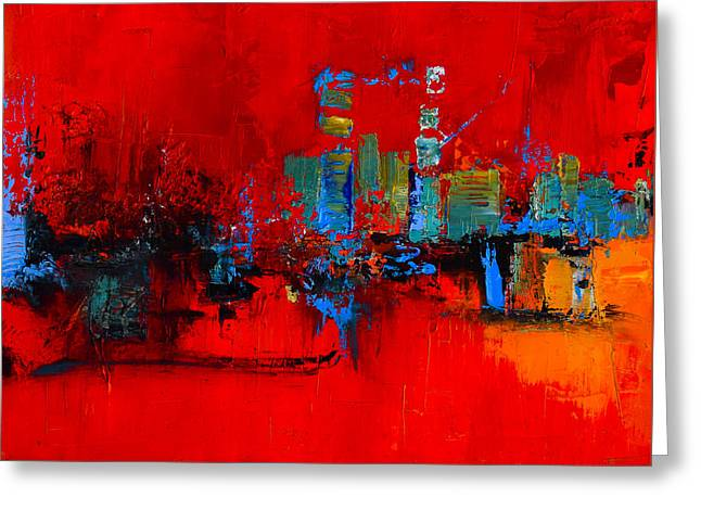 Abstractions Greeting Cards - Red Inspiration Greeting Card by Elise Palmigiani