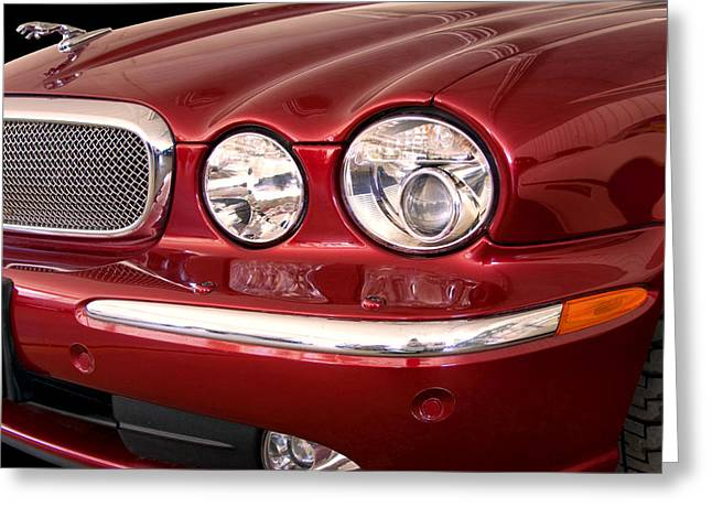 Featured Art Greeting Cards - RED JAGUAR Palm Springs Greeting Card by William Dey