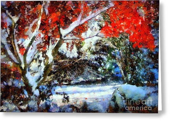 Reds Of Autumn Digital Greeting Cards - Red Japanese Maple in snow Greeting Card by Janine Riley