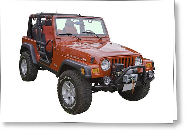 Off Road Greeting Cards - Red Jeep Wrangler Rubicon Greeting Card by Keith Webber Jr