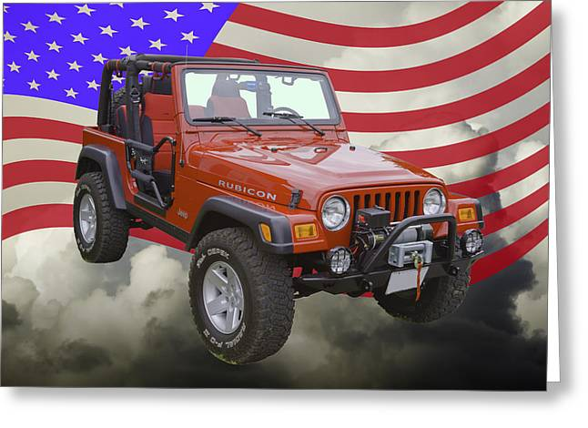 Four-wheel Greeting Cards - Red Jeep Wrangler Rubicon with American Flag Greeting Card by Keith Webber Jr