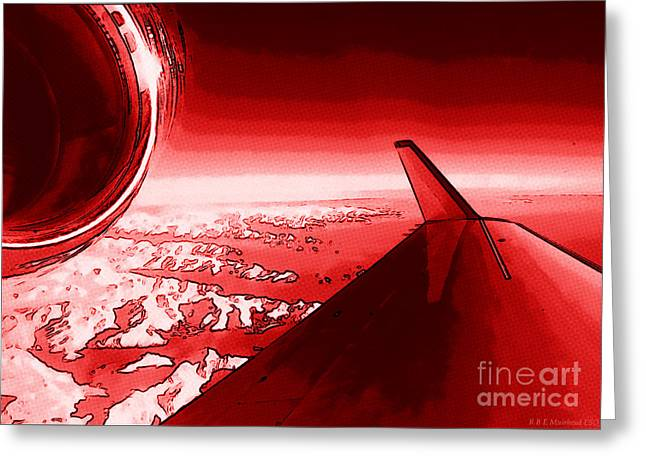 Red Jet Pop Art Plane Greeting Card by R Muirhead Art