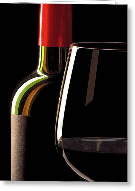 Red Wine Bottle Greeting Cards - Red Greeting Card by Jon Neidert
