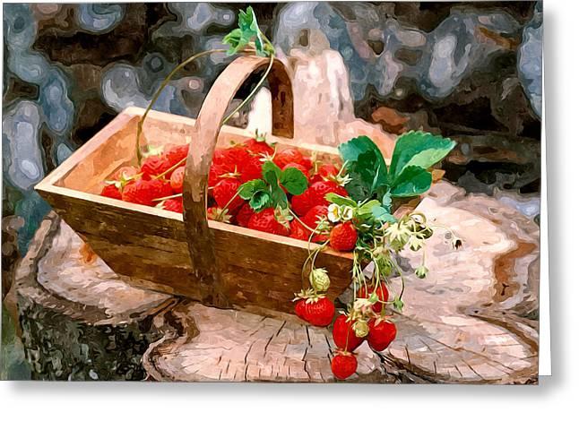 Hamper Greeting Cards - Red juicy strawberries Greeting Card by Lanjee Chee