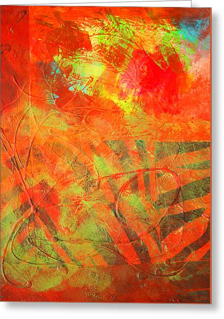 Red Jungle Abstract Greeting Card by Nancy Merkle