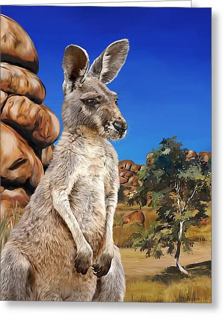 Flyer Paintings Greeting Cards - Red Kangaroo Tahdita Greeting Card by Samantha Tro