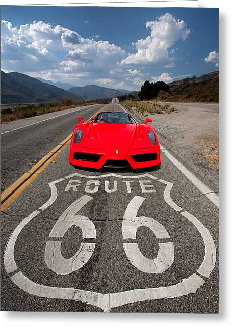 Automobiles Photographs Greeting Cards - Red Kicks on 66 Greeting Card by Peter Tellone