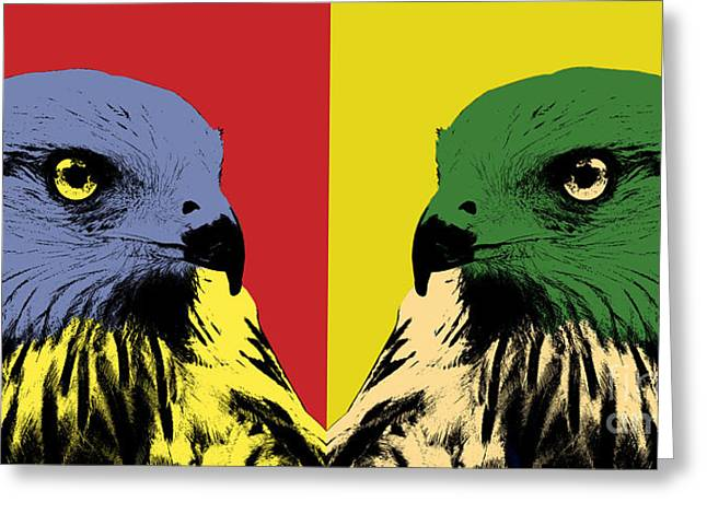Red Kite Greeting Cards - Red Kite Pop Art Greeting Card by Angela Doelling AD DESIGN Photo and PhotoArt