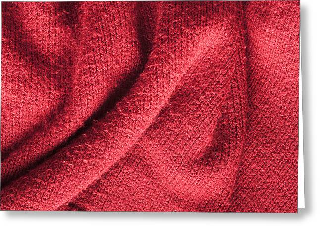Woolly Greeting Cards - Red knitted wool Greeting Card by Tom Gowanlock