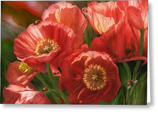 Blooming Mixed Media Greeting Cards - Red Ladies Of Summer Greeting Card by Carol Cavalaris