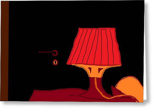 Night Lamp Drawings Greeting Cards - Red Lamp 10.5 Greeting Card by Anita Dale Livaditis