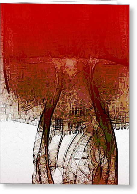 Night Lamp Mixed Media Greeting Cards - Red Lamp Greeting Card by Len YewHeng