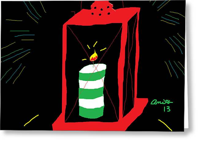 Candle Lit Drawings Greeting Cards - Red Lantern Striped Candle Greeting Card by Anita Dale Livaditis