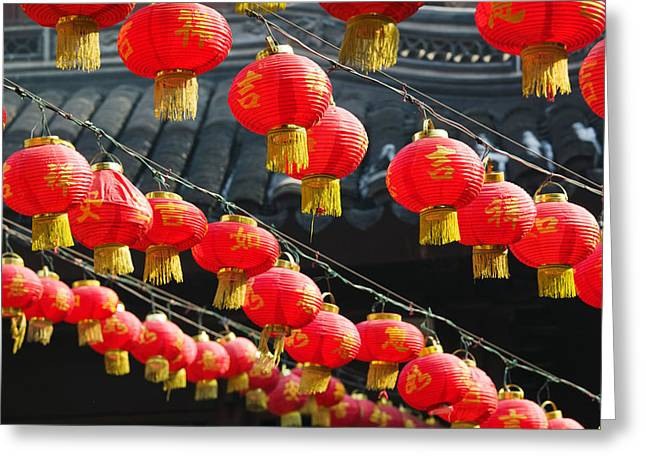 Repetition Greeting Cards - Red Lanterns At A Temple, Jade Buddha Greeting Card by Panoramic Images