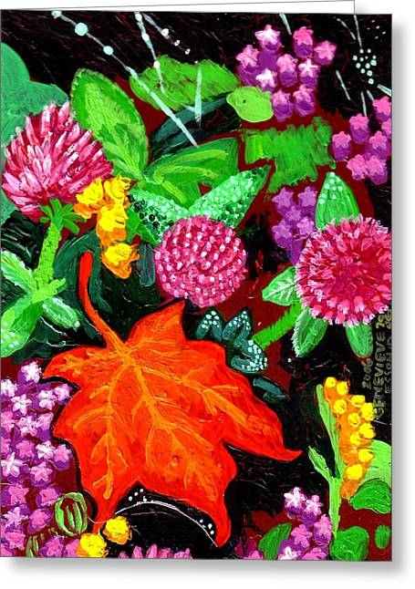 Plant Stretched Canvas Greeting Cards - Red Leaf Greeting Card by Genevieve Esson