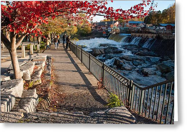 Geobob Greeting Cards - Red Leaves and Shelburne Falls Massachusetts Greeting Card by Robert Ford