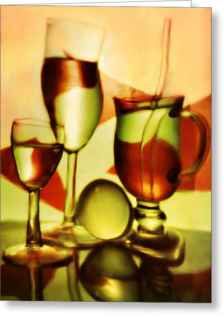 Wine-bottle Glass Greeting Cards - Wine glasses and  glasses with wine. Greeting Card by   larisa Fedotova