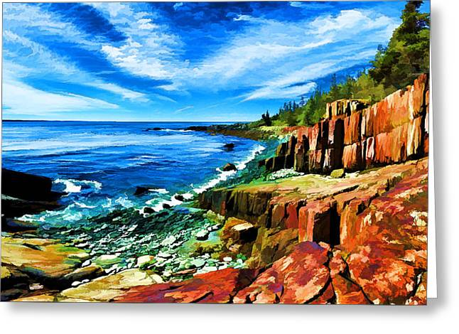 Panoramic Ocean Digital Greeting Cards - Red Ledge at Quoddy Head Greeting Card by Bill Caldwell -        ABeautifulSky Photography