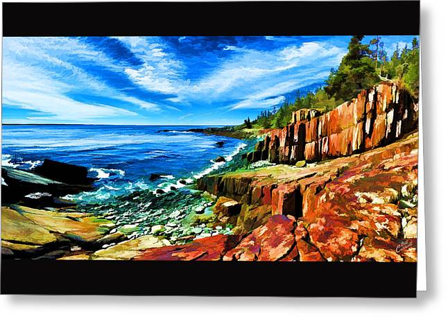 Quoddy Greeting Cards - Red Ledge at Quoddy Head Greeting Card by Bill Caldwell -        ABeautifulSky Photography