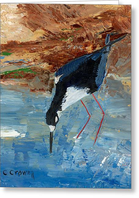 Pallet Knife Greeting Cards - Red Legged Stilt Greeting Card by Christine Crowell