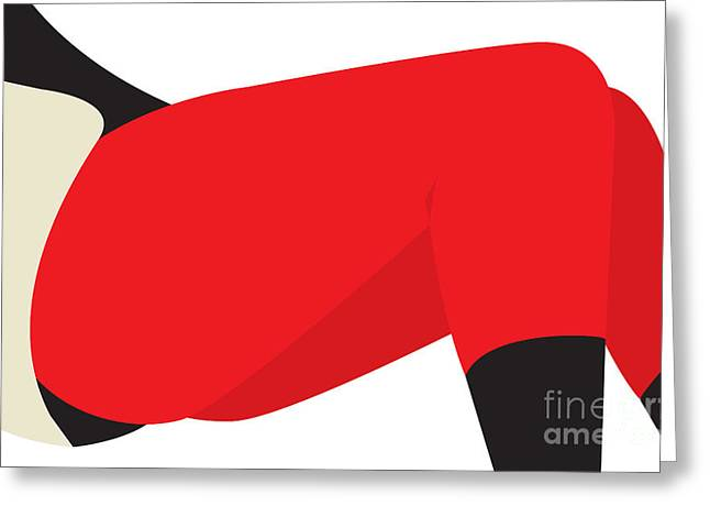 Adults Drawings Greeting Cards - Red Leggings Greeting Card by Igor Kislev