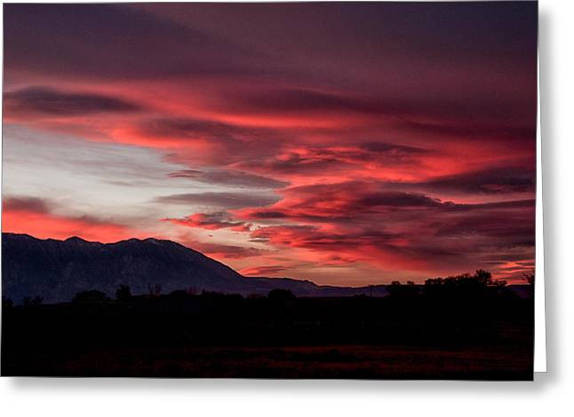 Black Clouds Greeting Cards - Red Lenticualr Sunset Greeting Card by Cat Connor