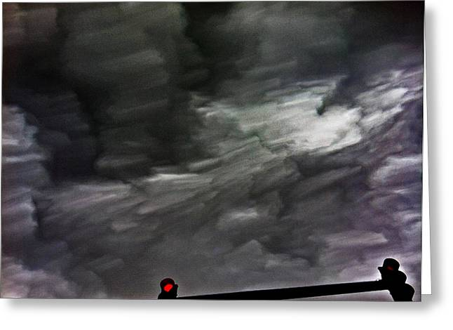Skyclouds Greeting Cards - Red Light Greeting Card by Barry Stock