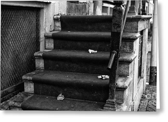 Stone Steps Greeting Cards - Red Light Carpet mono Greeting Card by John Rizzuto
