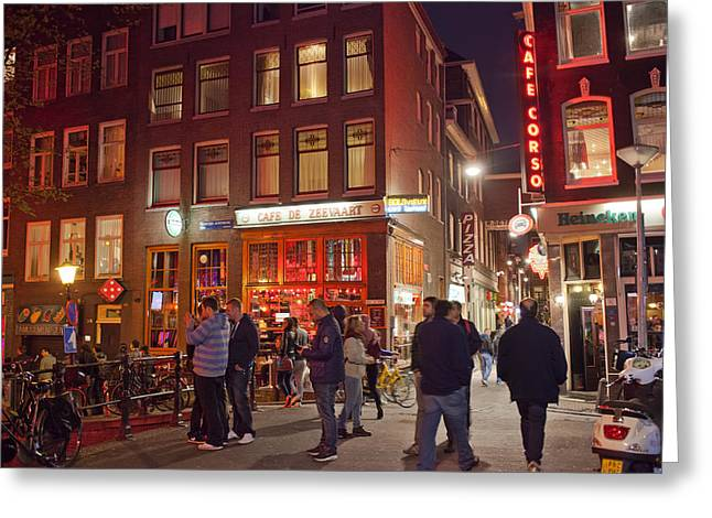 Red Light District In Amsterdam By Night Greeting Card by Artur Bogacki