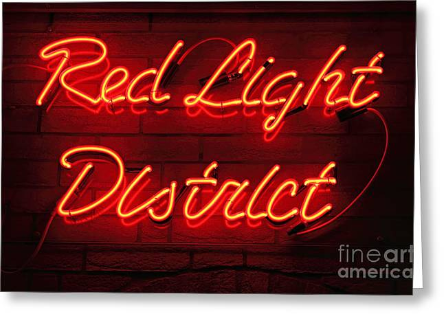 Basement Greeting Cards - Red Light District Greeting Card by Kiril Stanchev