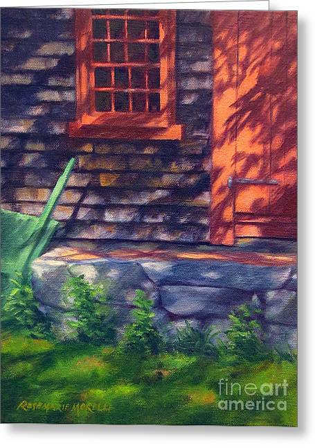 Red Light Grist Mill Door Greeting Card by Rosemarie Morelli