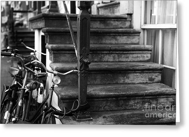 Stepping Stones Greeting Cards - Red Light Stone Steps mono Greeting Card by John Rizzuto