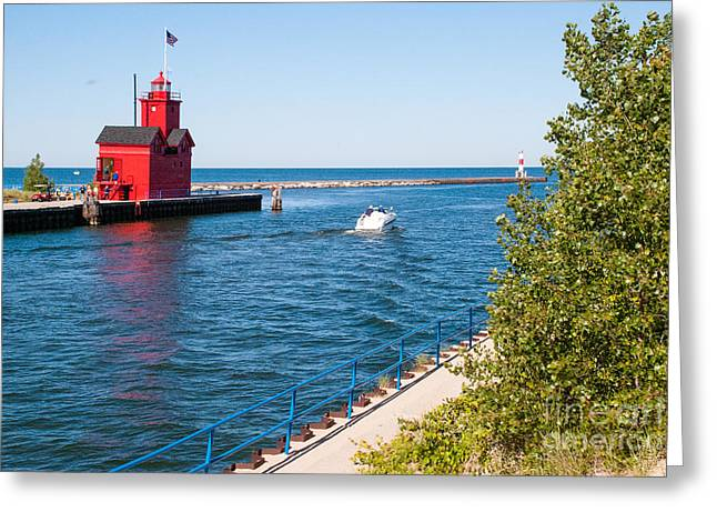 Geobob Greeting Cards - Red Lighthouse amd Breakwater in Holland State Park Michigan Greeting Card by Robert Ford