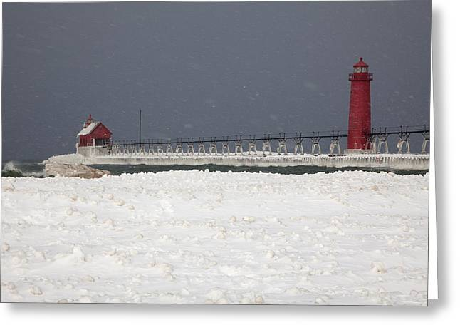 Snow Drifts Greeting Cards - Red Lighthouses - Winter - Stormy Weather Greeting Card by John Stephens