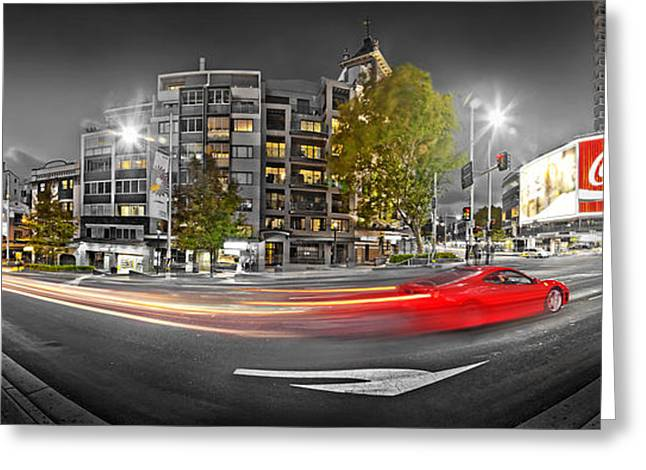 Blurred Greeting Cards - Red Lights Sydney Nights Greeting Card by Az Jackson