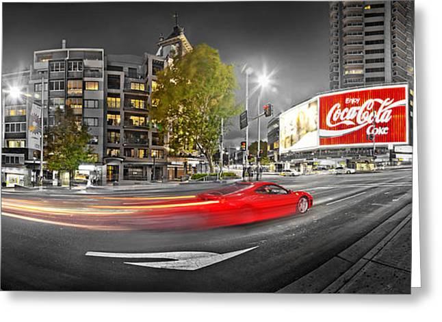 Red Lights Sydney Nights Greeting Card by Az Jackson