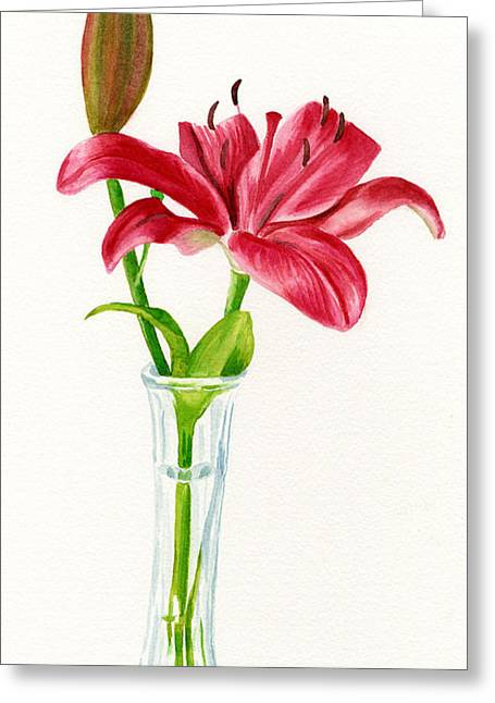 Red Lily In A Vase Greeting Card by Sharon Freeman