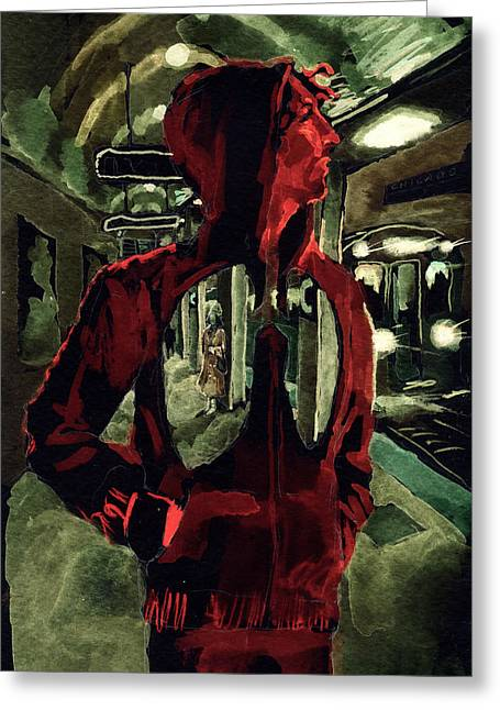 Hoodies Mixed Media Greeting Cards - Red Line at Chicago Greeting Card by David Condry