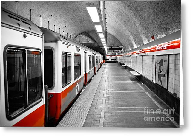 Cities Art Greeting Cards - Red Line Greeting Card by Charles Dobbs