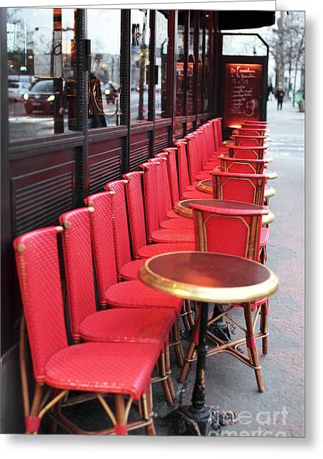 European Restaurant Greeting Cards - Red Line in Paris Greeting Card by John Rizzuto