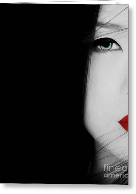 Human Forms Greeting Cards - Red Lips 2 Greeting Card by Cheryl Young