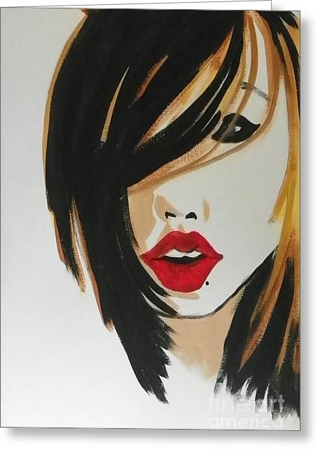 Side-swept Hair Greeting Cards - Red Lips Greeting Card by Marisela Mungia