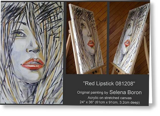 Australian Gold Coast Artist Greeting Cards - Red Lipstick 081208 Greeting Card by Selena Boron