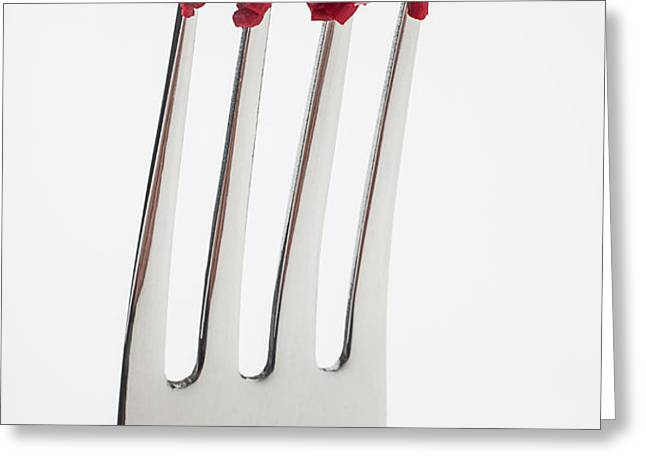 Red Lipstick On Fork Greeting Card by Garry Gay