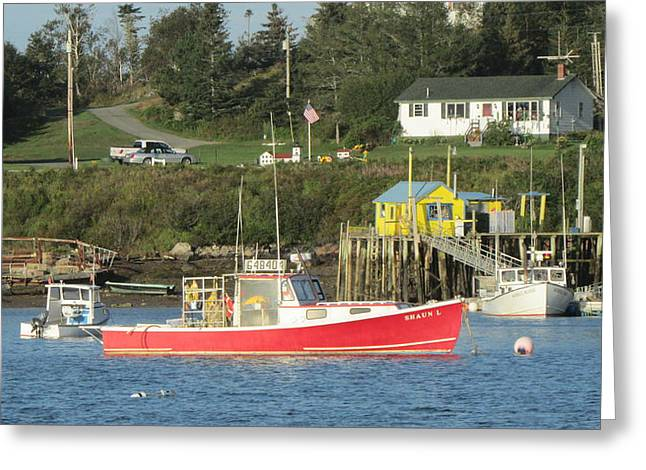 Lobsterboat Greeting Cards - Red Lobsterboat Greeting Card by Joseph Rennie