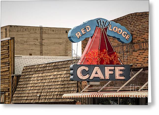 False Greeting Cards - Red Lodge Cafe Old Neon Sign Greeting Card by Edward Fielding