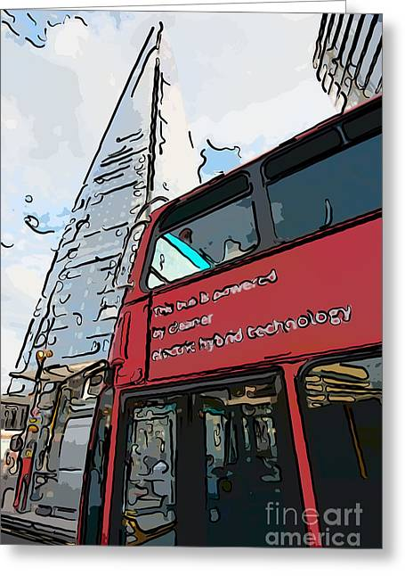 Shards Greeting Cards - Red London Bus and The Shard - Pop Art Style Greeting Card by Ian Monk